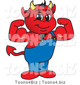 Vector Illustration of a Cartoon Devil Mascot Flexing by Toons4Biz
