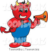 Vector Illustration of a Cartoon Devil Mascot Holding a Megaphone by Toons4Biz