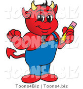 Vector Illustration of a Cartoon Devil Mascot Holding a Pencil by Toons4Biz