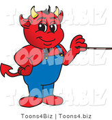 Vector Illustration of a Cartoon Devil Mascot Holding a Pointer Stick by Toons4Biz