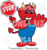 Vector Illustration of a Cartoon Devil Mascot Holding a Stop Sign by Toons4Biz