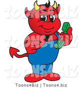 Vector Illustration of a Cartoon Devil Mascot Holding a Telephone by Toons4Biz