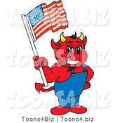 Vector Illustration of a Cartoon Devil Mascot Holding an American Flag by Toons4Biz
