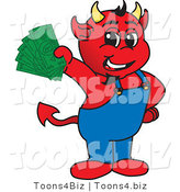 Vector Illustration of a Cartoon Devil Mascot Holding Cash by Toons4Biz