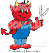 Vector Illustration of a Cartoon Devil Mascot Holding Scissors by Toons4Biz