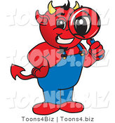 Vector Illustration of a Cartoon Devil Mascot Inspecting by Toons4Biz