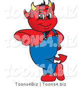 Vector Illustration of a Cartoon Devil Mascot Leaning by Toons4Biz