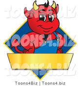 Vector Illustration of a Cartoon Devil Mascot on a Blue Diamond Sign by Toons4Biz