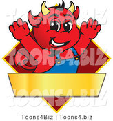 Vector Illustration of a Cartoon Devil Mascot on a Red Diamond Sign by Toons4Biz