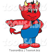 Vector Illustration of a Cartoon Devil Mascot Pointing Left by Toons4Biz