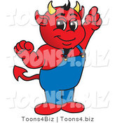Vector Illustration of a Cartoon Devil Mascot Pointing Upwards by Toons4Biz