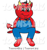 Vector Illustration of a Cartoon Devil Mascot Sitting on a Ledge by Toons4Biz