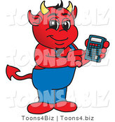 Vector Illustration of a Cartoon Devil Mascot Using a Calculator by Toons4Biz