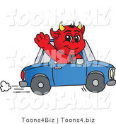 Vector Illustration of a Cartoon Devil Mascot Waving and Driving by Toons4Biz