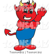 Vector Illustration of a Cartoon Devil Mascot Waving and Pointing by Toons4Biz