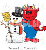 Vector Illustration of a Cartoon Devil Mascot with a Christmas Snowman by Toons4Biz