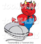 Vector Illustration of a Cartoon Devil Mascot with a Computer Mouse by Toons4Biz