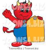 Vector Illustration of a Cartoon Devil Mascot with a Sales Tag by Toons4Biz