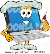 Vector Illustration of a Cartoon Doctor PC Computer Mascot Holding a Vaccine Syringe by Toons4Biz