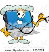 Vector Illustration of a Cartoon Doctor PC Computer Mascot Using a Stethoscope by Toons4Biz