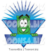 Vector Illustration of a Cartoon Dollar Bill Mascot on a Blank Blue Label with a Burst by Toons4Biz