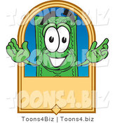 Vector Illustration of a Cartoon Dollar Bill Mascot on a Blank Tan Label by Toons4Biz