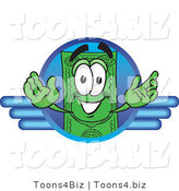 Vector Illustration of a Cartoon Dollar Bill Mascot on a Blue Business Logo by Toons4Biz
