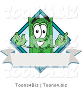 Vector Illustration of a Cartoon Dollar Bill Mascot over a Blank White Label by Toons4Biz