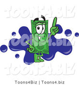 Vector Illustration of a Cartoon Dollar Bill Mascot Pointing Upwards and Standing in Front of a Blue Paint Splatter on a Business Logo by Toons4Biz