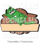 Vector Illustration of a Cartoon Dollar Bill Mascot Reclining on a Blank Tan and Brown Label by Toons4Biz