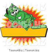Vector Illustration of a Cartoon Dollar Bill Mascot Reclining over a Blank Yellow Label by Toons4Biz