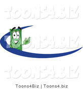 Vector Illustration of a Cartoon Dollar Bill Mascot Waving and Standing Behind a Blue Dash on an Employee Nametag or Business Logo by Toons4Biz