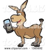 Vector Illustration of a Cartoon Donkey Mascot Character Holding a Cell Phone by Toons4Biz