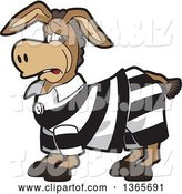 Vector Illustration of a Cartoon Donkey Mascot Character in a Jail Suit by Toons4Biz