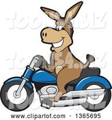 Vector Illustration of a Cartoon Donkey Mascot Character on a Blue Motorcycle by Toons4Biz