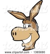 Vector Illustration of a Cartoon Donkey Mascot Character Smiling by Toons4Biz