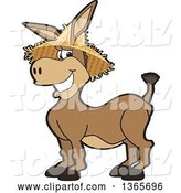 Vector Illustration of a Cartoon Donkey Mascot Character Wearing a Straw Hat by Toons4Biz