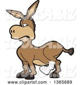 Vector Illustration of a Cartoon Donkey Mascot Character with a Leg in a Cast by Toons4Biz