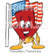 Vector Illustration of a Cartoon down Arrow Mascot by an American Flag by Toons4Biz