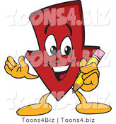 Vector Illustration of a Cartoon down Arrow Mascot Holding a Pencil by Toons4Biz