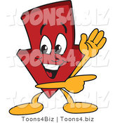 Vector Illustration of a Cartoon down Arrow Mascot Waving and Pointing by Toons4Biz
