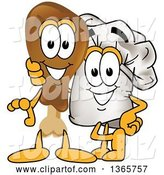 Vector Illustration of a Cartoon Drumstick Mascot Beside a Chef Hat Mascot Posing Together by Toons4Biz