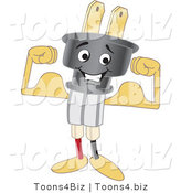 Vector Illustration of a Cartoon Electric Plug Mascot Flexing by Toons4Biz