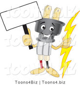 Vector Illustration of a Cartoon Electric Plug Mascot Holding a Blank Sign by Toons4Biz