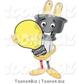 Vector Illustration of a Cartoon Electric Plug Mascot Holding a Light Bulb by Toons4Biz