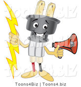 Vector Illustration of a Cartoon Electric Plug Mascot Holding a Megaphone by Toons4Biz
