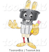 Vector Illustration of a Cartoon Electric Plug Mascot Holding a Pencil by Toons4Biz