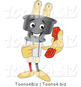 Vector Illustration of a Cartoon Electric Plug Mascot Holding a Phone by Toons4Biz