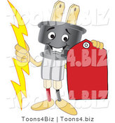 Vector Illustration of a Cartoon Electric Plug Mascot Holding a Red Price Tag by Toons4Biz