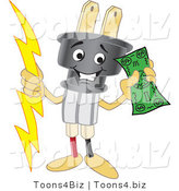 Vector Illustration of a Cartoon Electric Plug Mascot Holding Cash by Toons4Biz